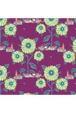 Nathalie Lété ON SALE-Souvenir, Sunny Village in Aubergine, Fabric FULL-Yards