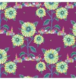Nathalie Lété Souvenir, Sunny Village in Aubergine, Fabric Half-Yards PWNL003