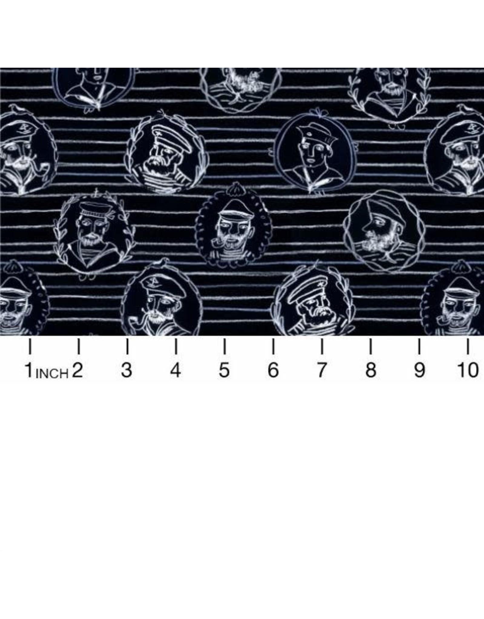 August Wren High Seas, Sailor Stripe in Vulcan, Fabric Half-Yards STELLA-DAW1361
