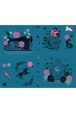 Sarah Watts ON SALE-Ruby Star Society, Crescent Magic Forest Panel in Teal, Fabric Half-Yards