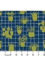 Sarah Golden Home, House Plants in Cobalt, Fabric Half-Yards A-9167-B