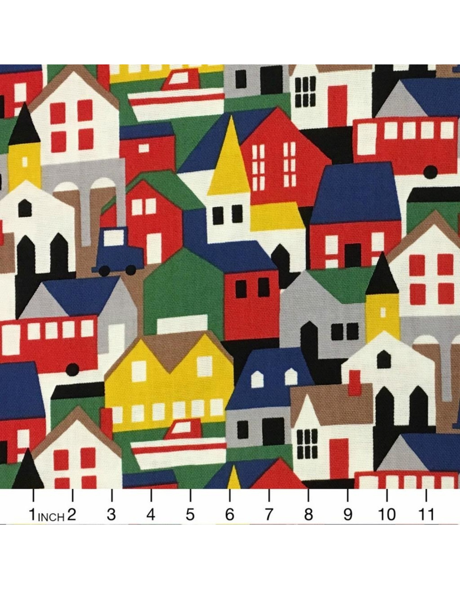 Hokkoh, Japan Canvas, Houses in Multi, Fabric Half-Yards 311-1230-1-A