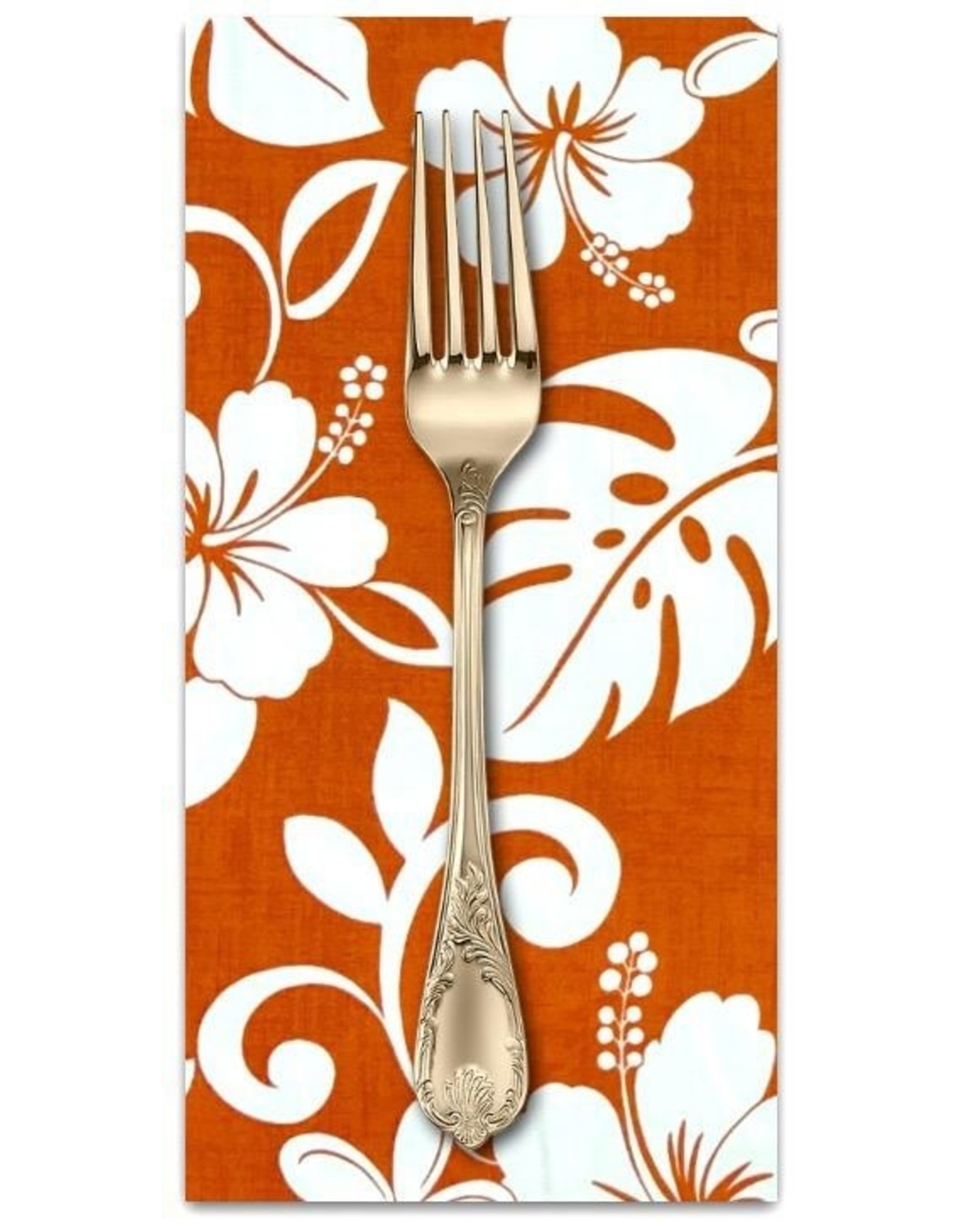 PD's Sevenberry Collection Island Paradise, Classic Hawaiian in Orange, Dinner Napkin