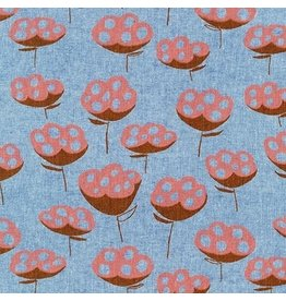 Anna Graham of Noodlehead Linen, Driftless, Seed Pods in Cadet, Fabric Half-Yards AFH-19016-338