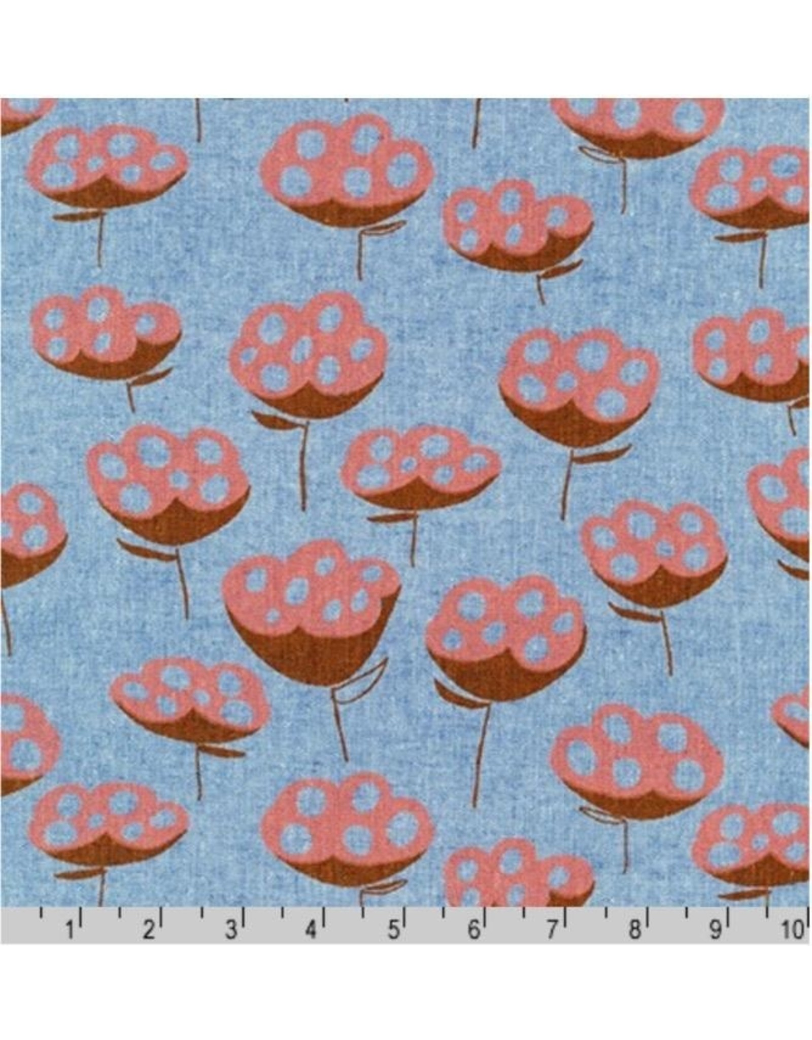 Noodlehead Linen, Driftless, Seed Pods in Cadet, Fabric Half-Yards AFH-19016-338
