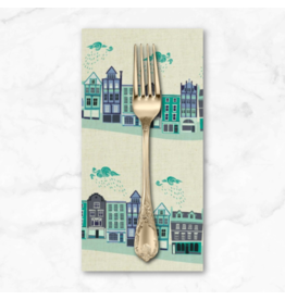 PD's Cotton + Steel Collection London Town, Kings Road in Teal on Unbleached Fabric, Dinner Napkin