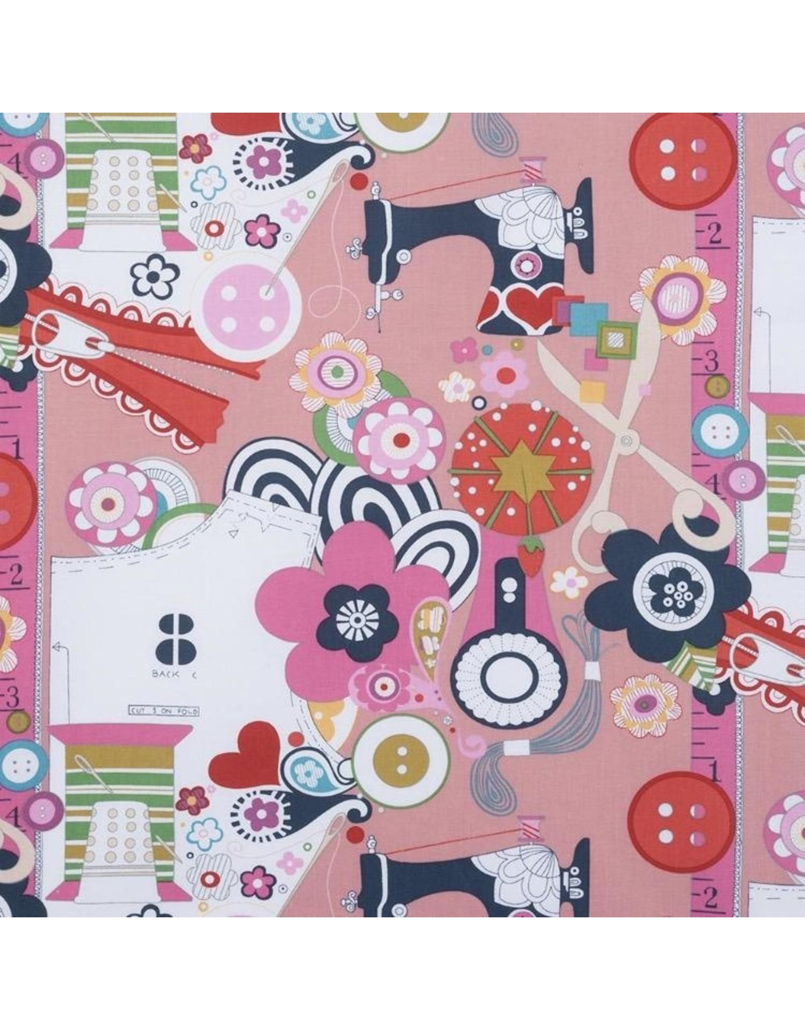 Alexander Henry Fabrics Nicole's Prints, Sew Now! Sew Wow! in Pink, Fabric Half-Yards 6880D