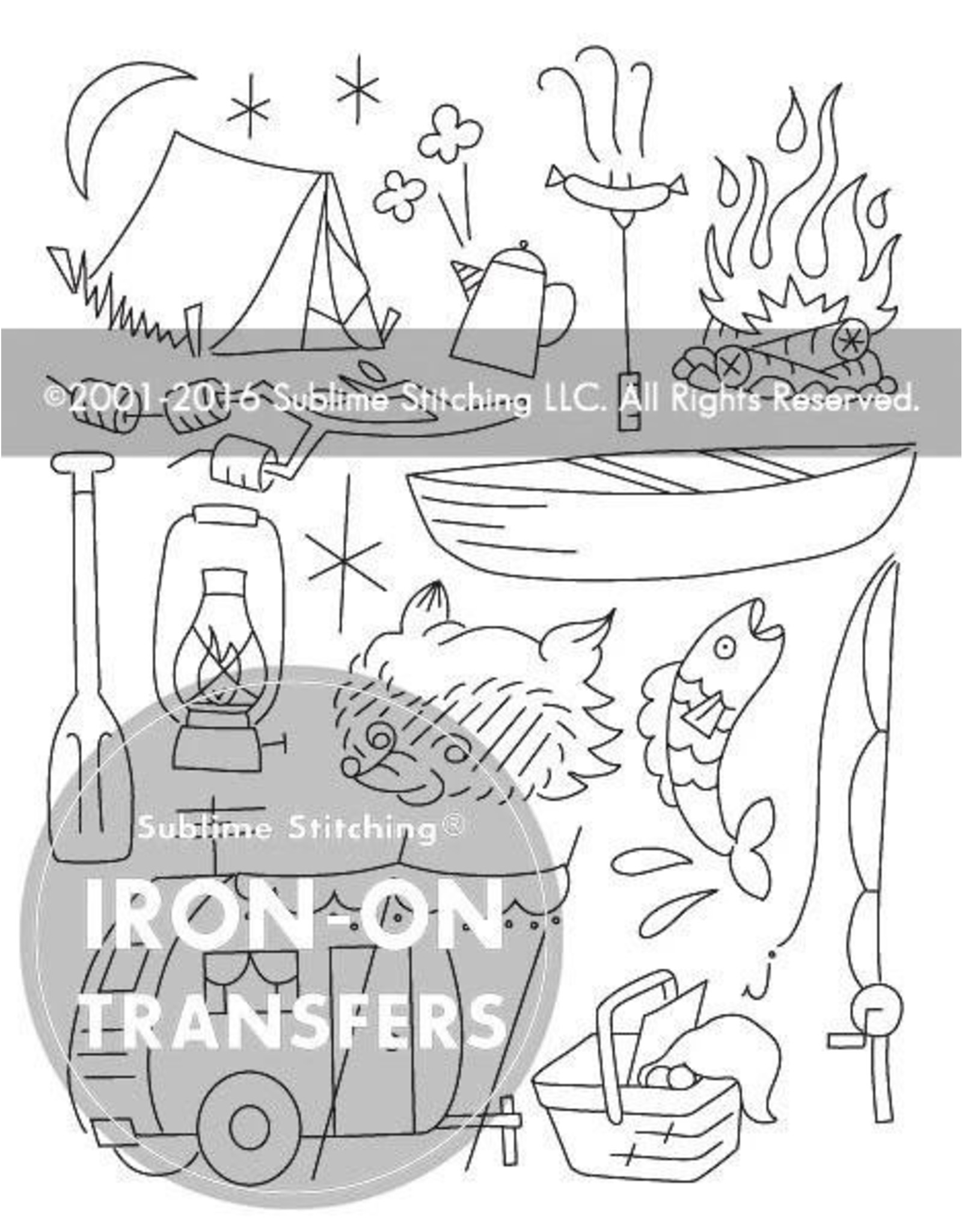 Sublime Stitching Embroidery Iron-On Transfers, Camp Out