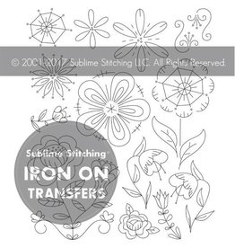 Sublime Stitching Embroidery Iron-On Transfers, Fantasy Flowers