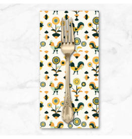 PD's RJR Collection Lil' Bit Country, Rockin' Rooster in Green, Dinner Napkin
