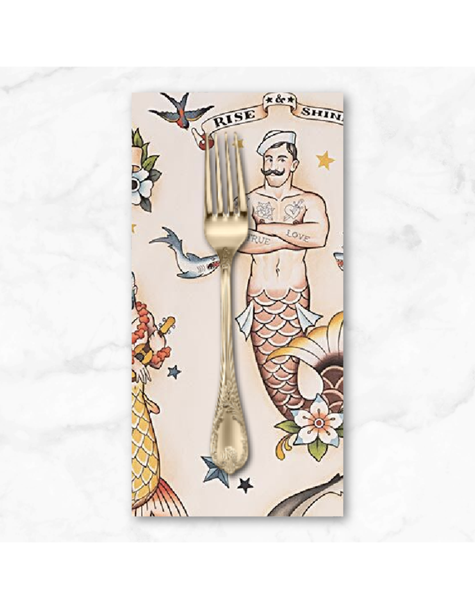 PD's Alexander Henry Collection Nicole's Prints, Rise and Shine, Mermen in Tea, Dinner Napkin