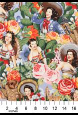 PD's Alexander Henry Collection Folklorico, Las Senoritas in Bright, Dinner Napkin