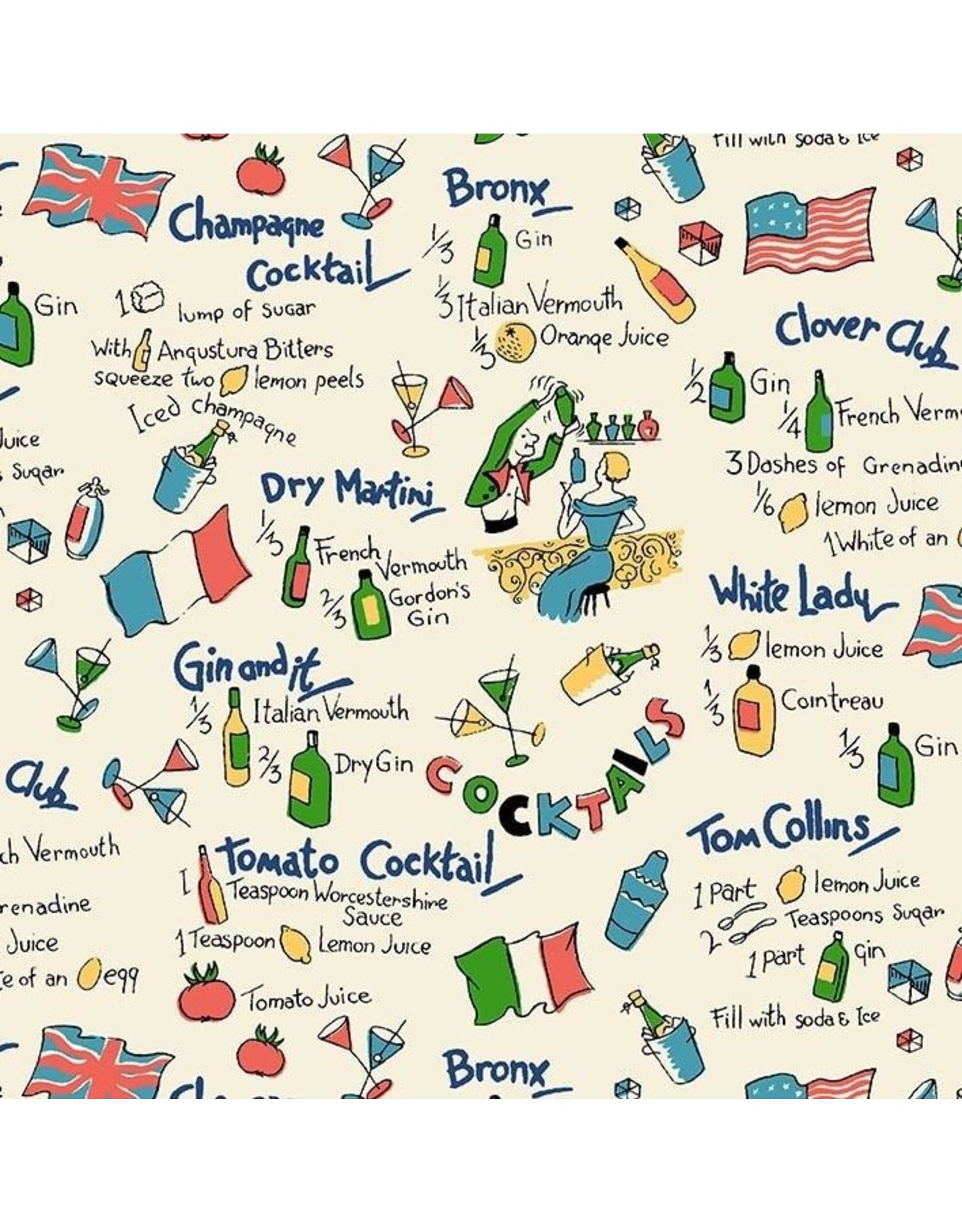PD Kitschy Cocktails, Dry Martini in Cream, Set of 6 Cocktail Napkins