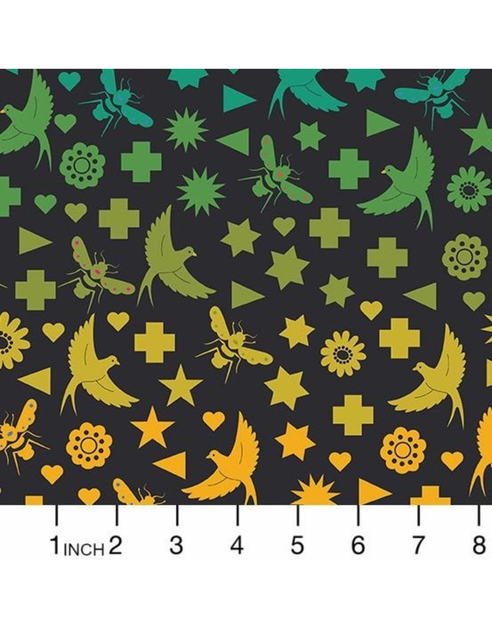 PD's Alison Glass Collection Art Theory, Seventy Six Bird & Bee in Night, Dinner Napkin