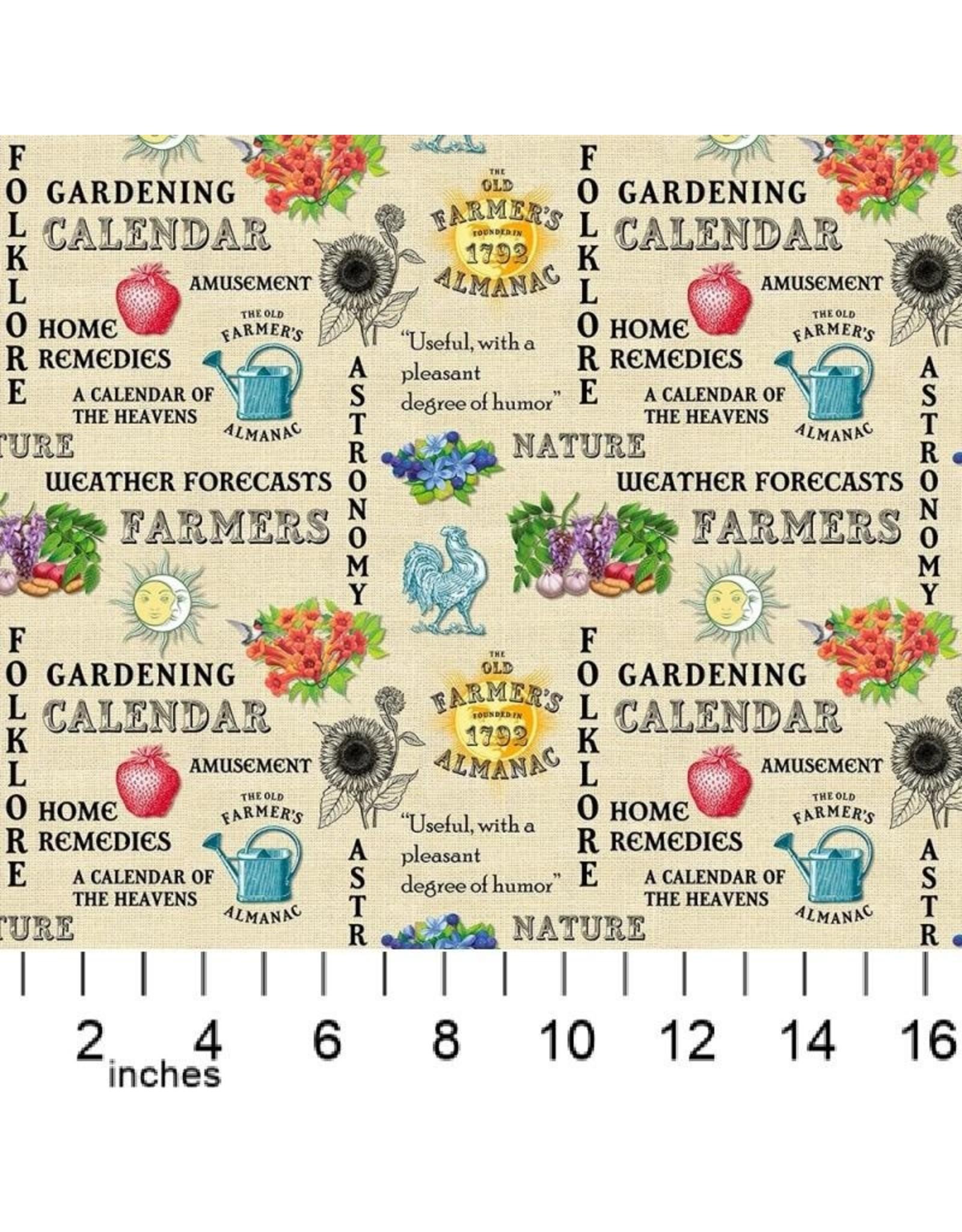 PD's Sykel Fabrics Collection Old Farmers Almanac, Celestial Words, Dinner Napkin