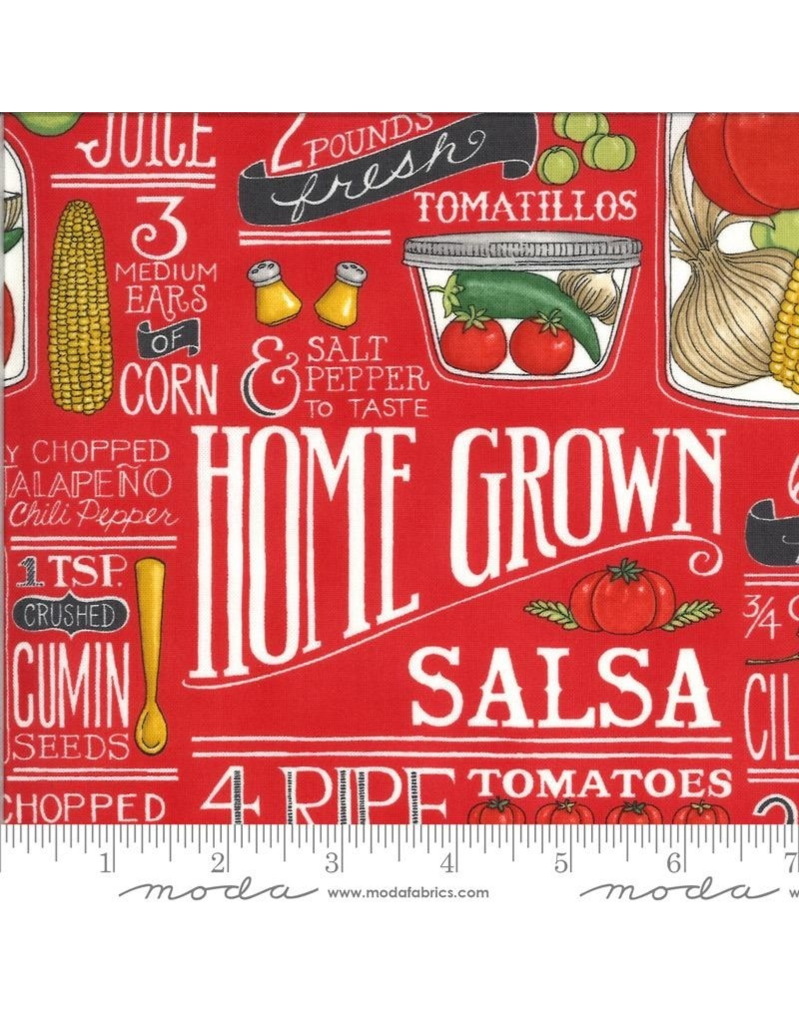 PD's Moda Collection Homegrown Salsa, Recipe in Tomato, Dinner Napkin