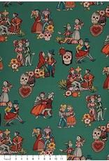 "Alexander Henry Fabrics Canvas, Folklorico La Media Vuelta in Peacock, Fabric Half-Yards H8796CR (ONE 29"" CUT REMAINING)"