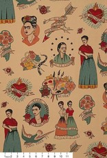 Alexander Henry Fabrics Canvas, Folklorico Si Te Lloro in Tea, Fabric Half-Yards H8793CR