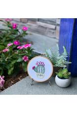 Picking Daisies BOTH Cactus No.1 and No.2, Mini Embroidery Kits with bonus printed cloth and hoop