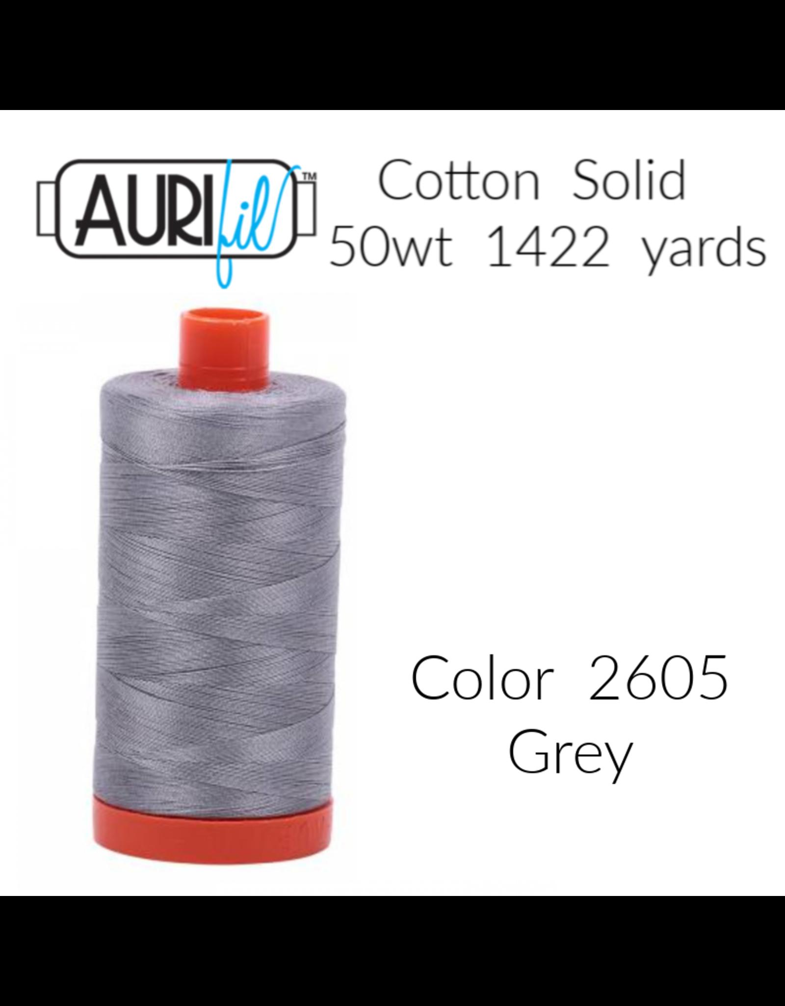 Aurifil Aurifil Thread, 50wt, 100% Cotton Mako, Large Spool 1422 yds. Color 2605: Grey