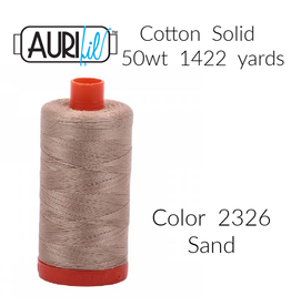 Aurifil Aurifil Thread, 50wt, 100% Cotton Mako, Large Spool 1422 yds. Color 2326: Sand