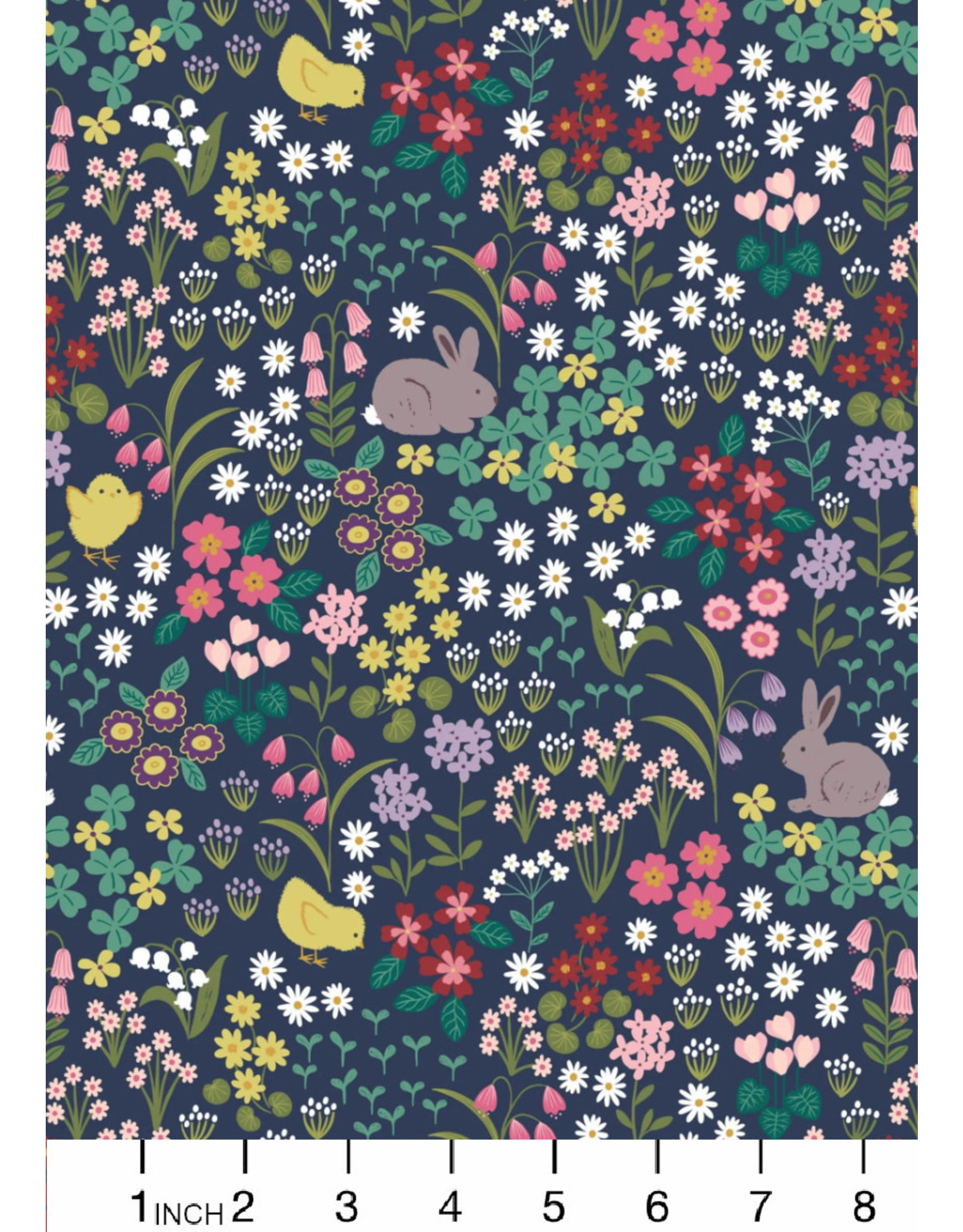 Lewis & Irene Bunny Hop, Easter Bunny & Chick Floral on Dark Blue, Fabric Half-Yards