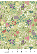 PD's Lewis & Irene Collection Bunny Hop, Easter Bunny & Chick Floral in Light Green, Dinner Napkin