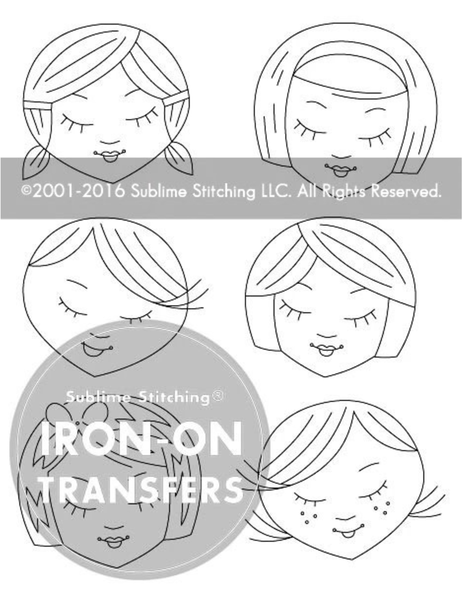 Sublime Stitching Embroidery Iron-On Transfers, Cute Little Heads