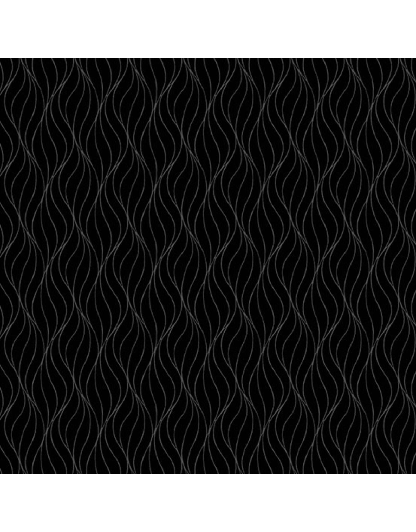 Andover Fabrics Century Solids Black on Black, Waves, Fabric Half-Yards