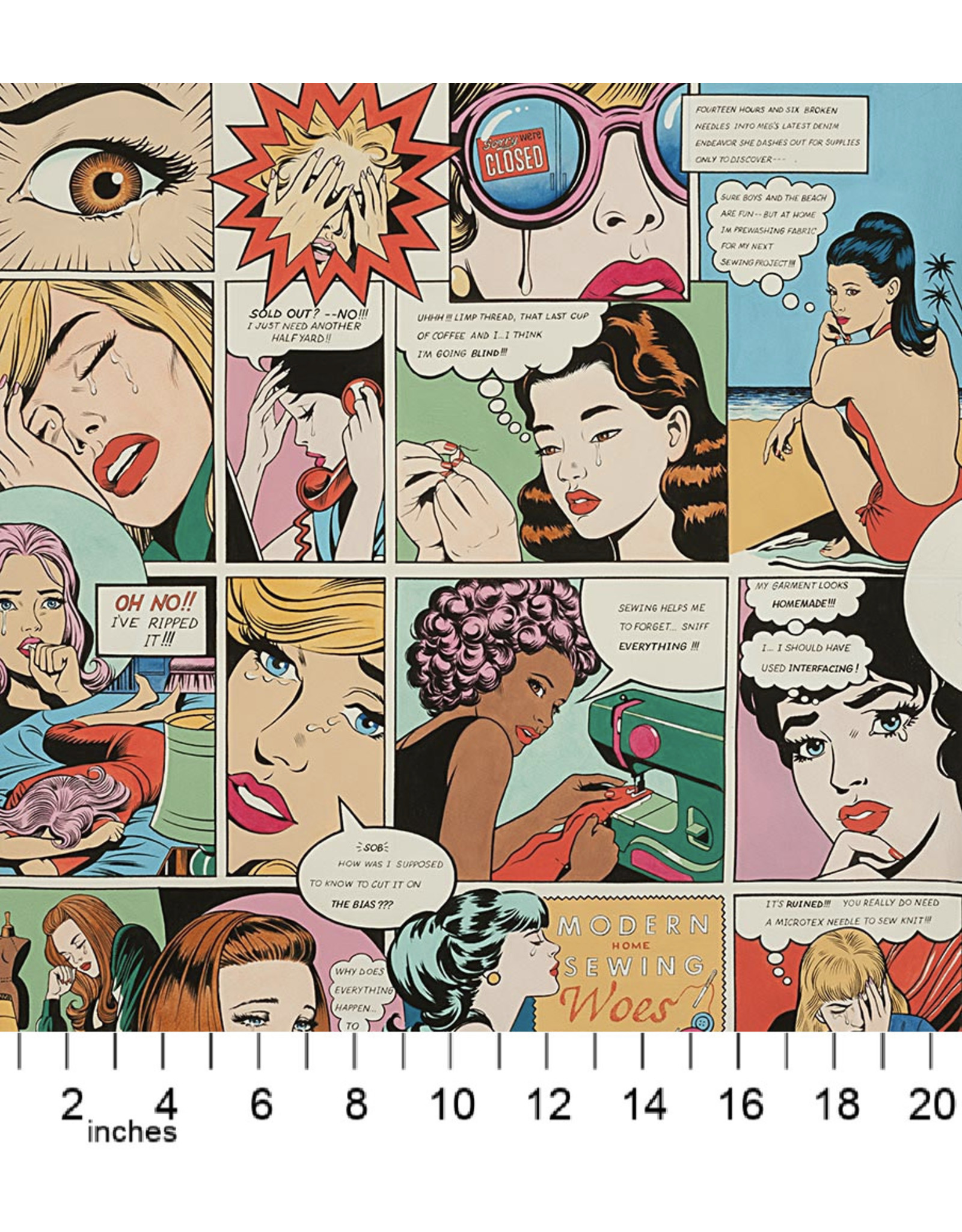 """Alexander Henry Fabrics Nicole's Prints, Sewing Woes in Multi, 24"""" x 44"""" Fabric Panel"""