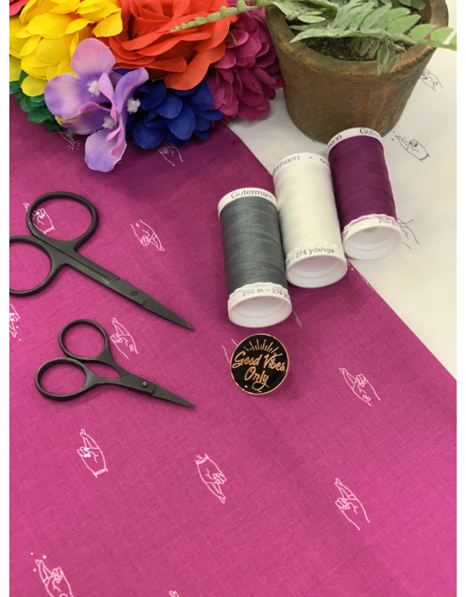 Figo ON SALE-Lucky Charms, Fingers Crossed in Magenta, Fabric Half-Yards 92001-83