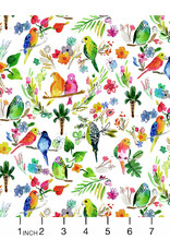 PD's August Wren Collection Paradise Found, Parrots in Multi, Dinner Napkin