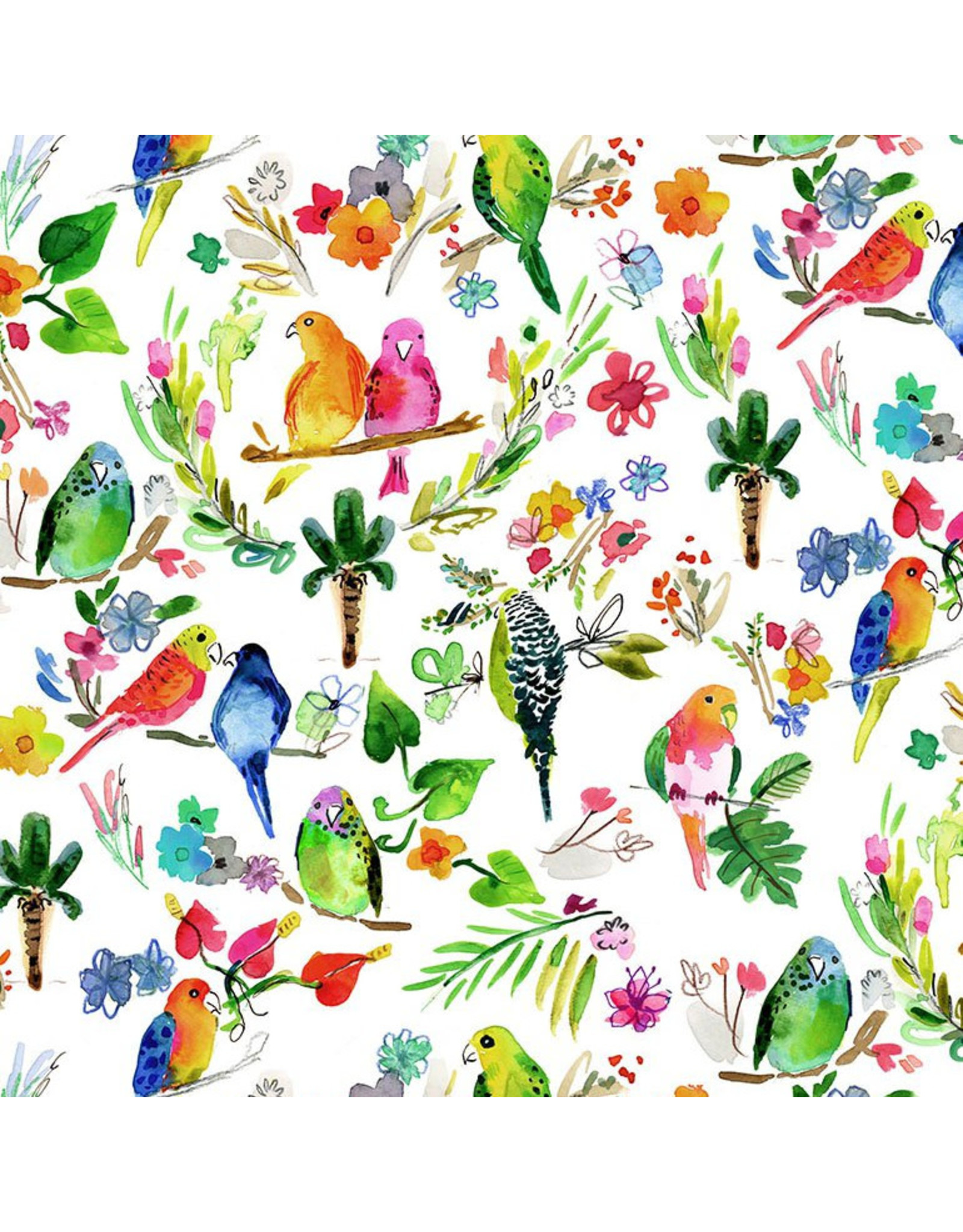 August Wren Paradise Found, Parrots in Multi, Fabric Half-Yards