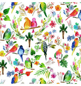 August Wren Paradise Found, Parrots in Multi, Fabric Half-Yards