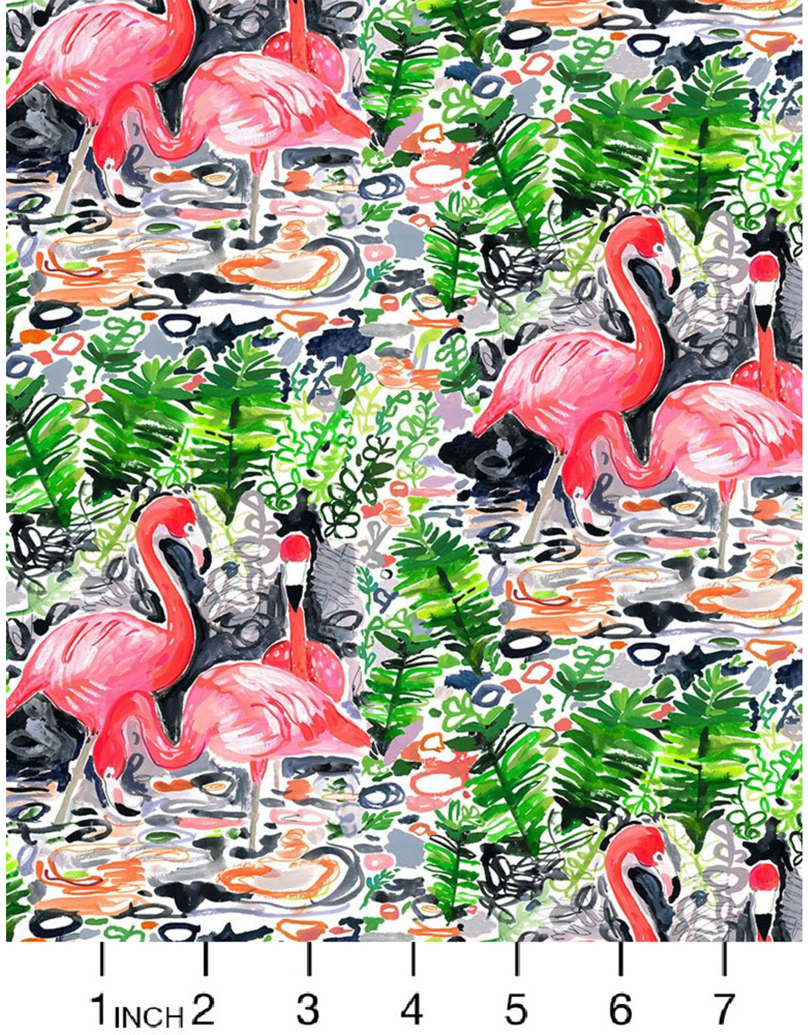 PD's August Wren Collection Paradise Found, Flamingoes in Multi, Dinner Napkin