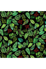 August Wren Paradise Found, Leaves in Green, Fabric Half-Yards