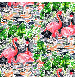 August Wren Paradise Found, Flamingoes in Multi, Fabric Half-Yards