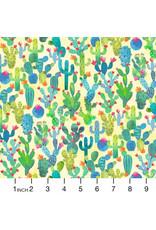 PD's Michael Miller Collection La Vida Loca, Cactus Garden in Yellow, Dinner Napkin