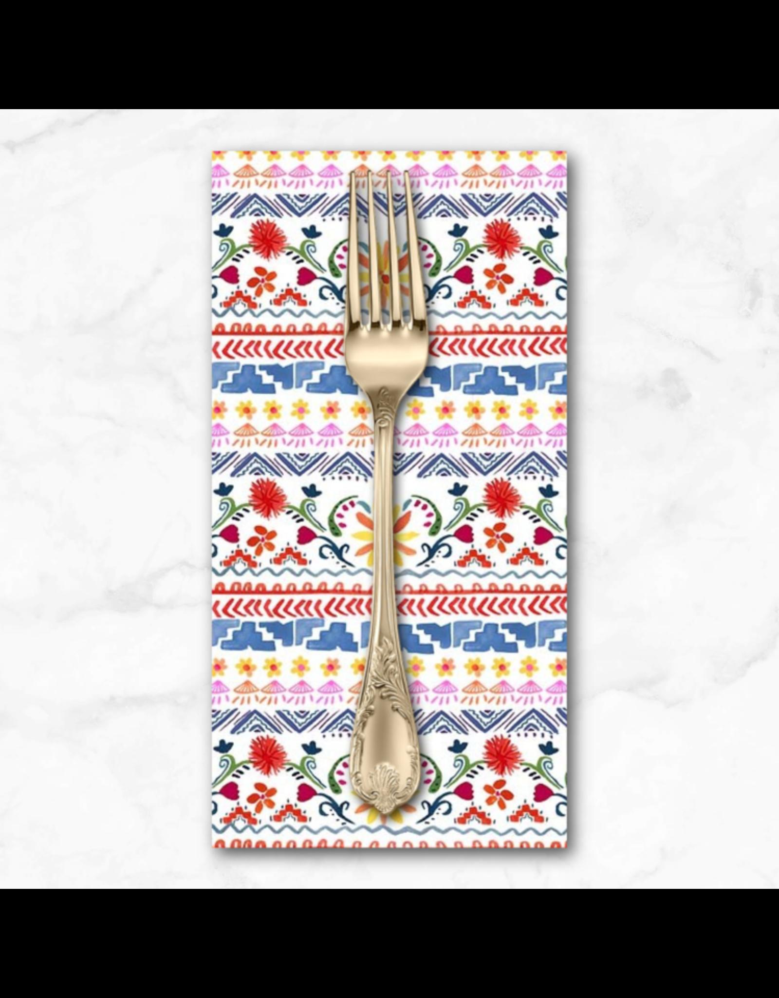 PD's Michael Miller Collection La Vida Loca, Siesta Stripe in White, Dinner Napkin