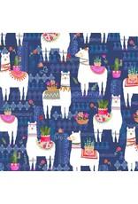 Michael Miller La Vida Loca, La Llama in Navy, Fabric Half-Yards