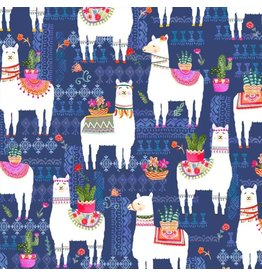 Michael Miller La Vida Loca, La Llama in Navy, Fabric Half-Yards
