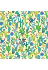 Michael Miller La Vida Loca, Cactus Garden in Yellow, Fabric Half-Yards