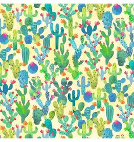 Michael Miller La Vida Loca, Cactus Garden in Yellow, Fabric Half-Yards