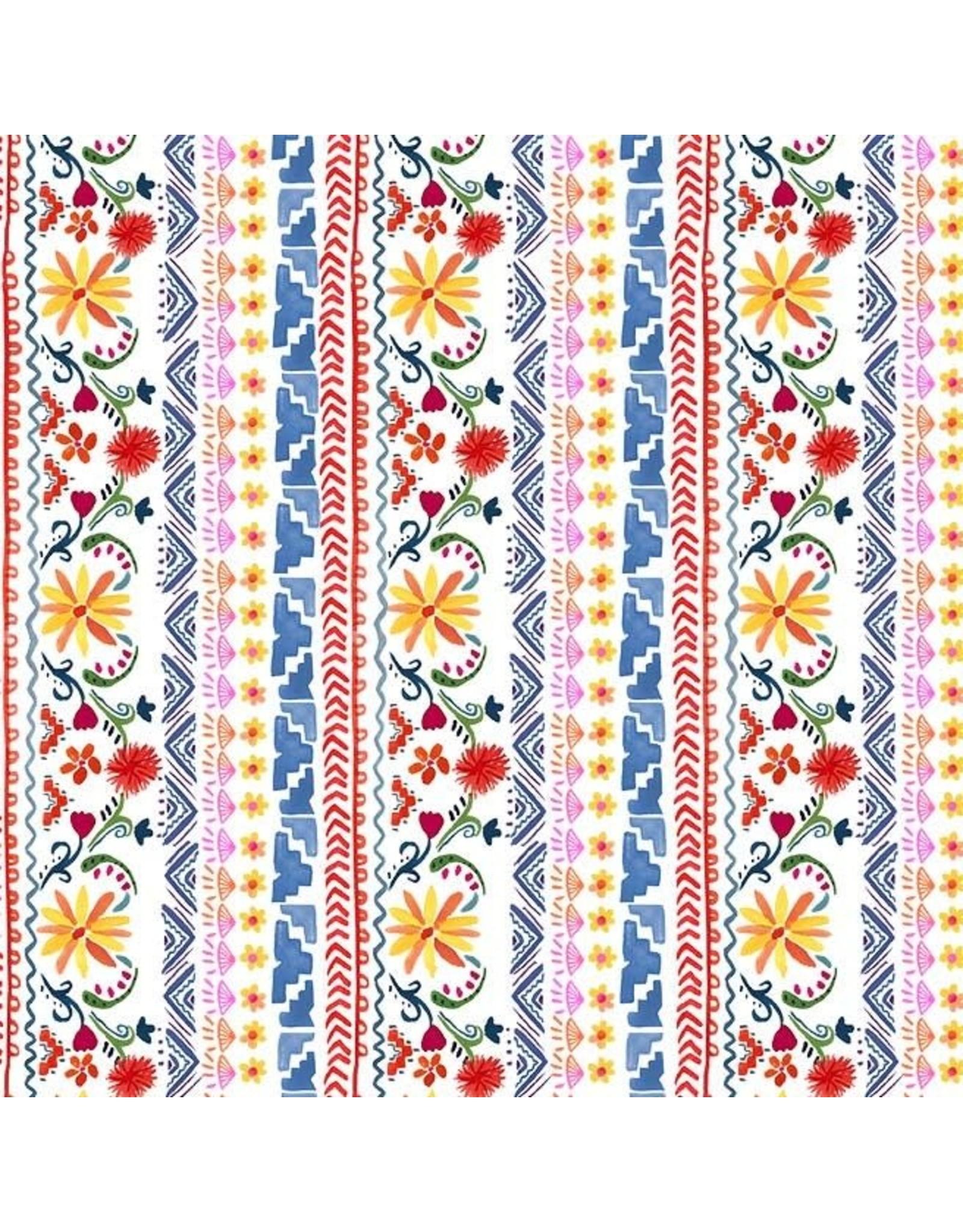 Michael Miller La Vida Loca, Siesta Stripe in White, Fabric Half-Yards