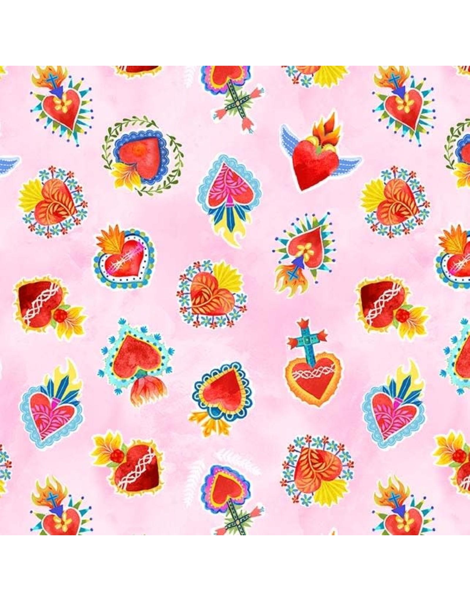 Michael Miller La Vida Loca, Sacred Heart in Pink, Fabric Half-Yards