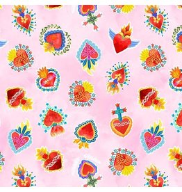 Michael Miller La Vida Loca, Sacred Heart in Pink, Fabric Half-Yards