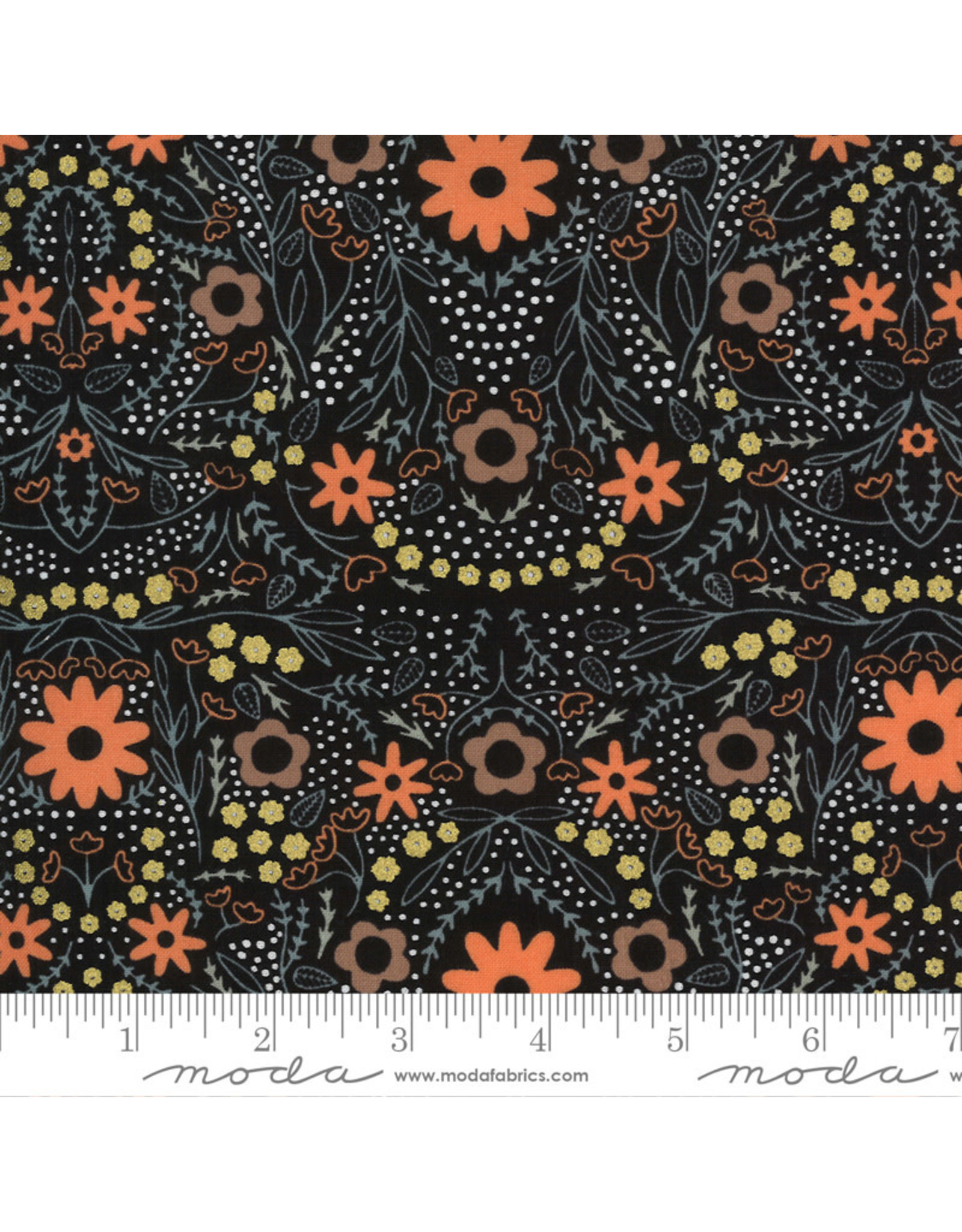 Gingiber Dwell in Possibility, Full Bloom in Night with Gold Metallic, Fabric Half-Yards