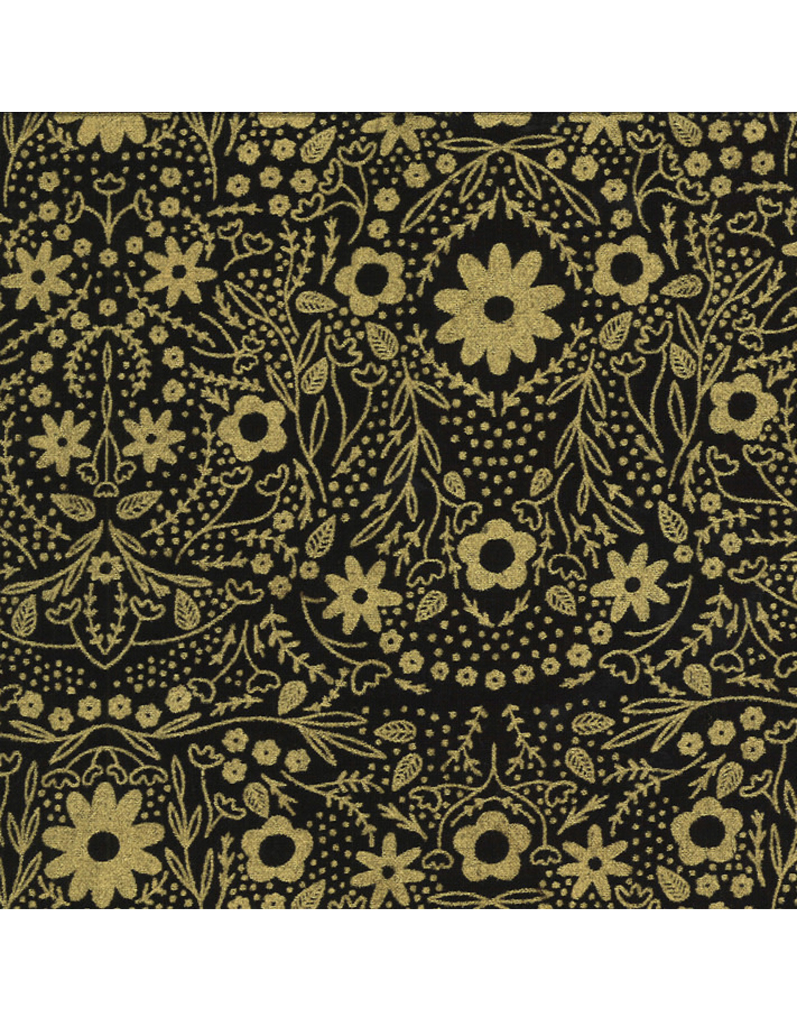 Gingiber Dwell in Possibility, Full Bloom in Night Gold with Gold Metallic, Fabric Half-Yards