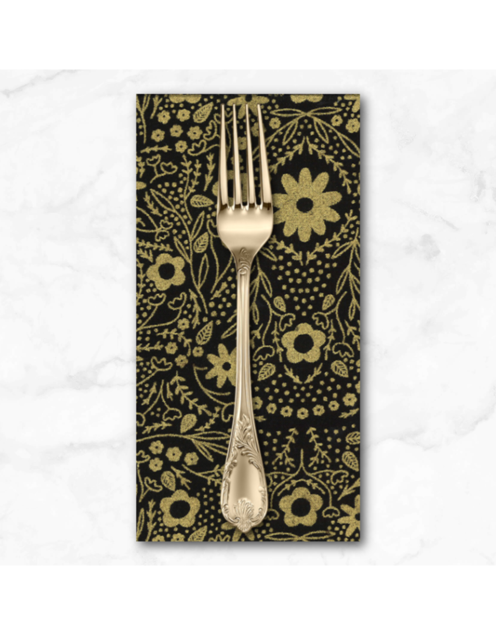 PD's Moda Collection Dwell in Possibility, Full Bloom in Night Gold, Dinner Napkin