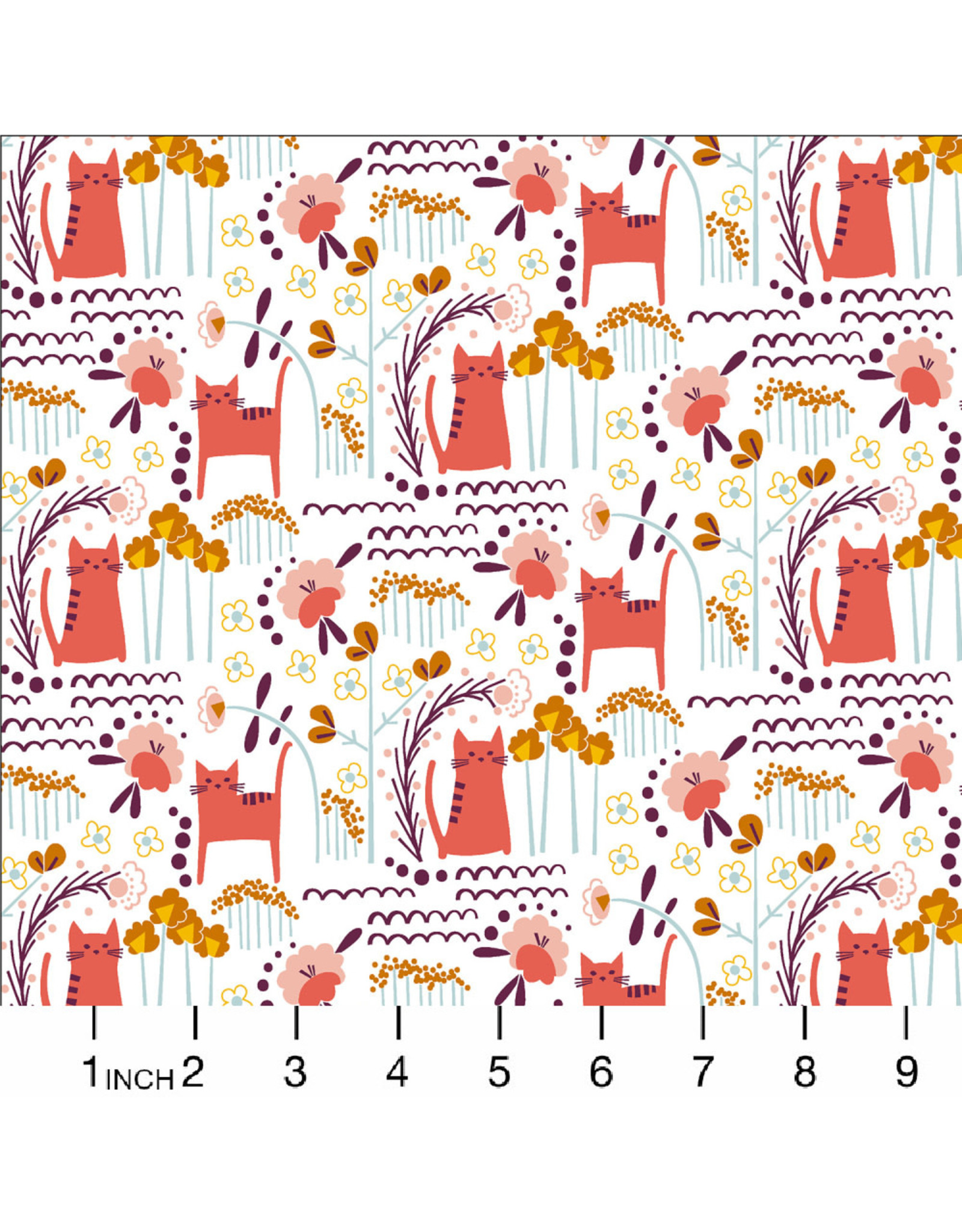 Cotton + Steel Glory, Elsies Cat in Sunrise, Fabric Half-Yards